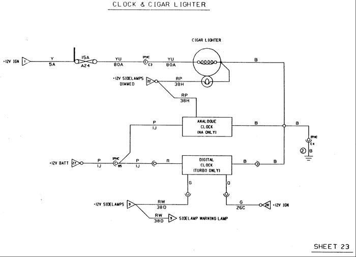 lotus elan m100 wiring diagram for clock and cigar lighter  lotus elan wiring diagrams #12