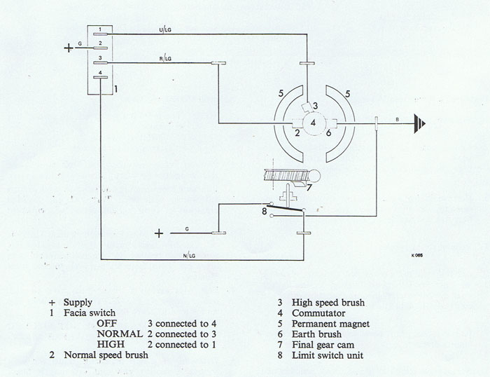lucas windscreen wiper motor 75704, Wiring diagram
