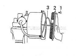 1. Secure unit in a bench vice, before unscrewing end cover bolts (1) steady end cover (2) against the pressure of the spring (3) before the last bolts are removed.