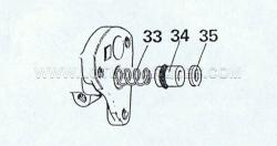 11. Remove the tool to release the spring (33) piston (34) and washer (35).