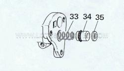 13. Fit new seals to piston (34), lubricate bore and seal with unused fluid and insert the spring (33) into the bore, place the washer onto the piston (35).
