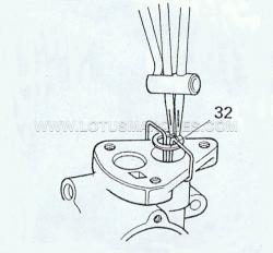 14. Ease the piston and seal into the bore and clip the special tool under the flange. REMEMBER THE CIRCLIP (32) MUST NOT DAMAGE THE BORE SO TAKE EXTRA CARE.