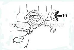 18. To insert the 'T' lever valve (18) press in the plug (19) so the round end of the lever fits easy in the hole when in the control position.