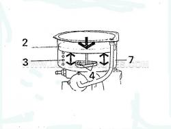 21. With bolts in place but dont tighten them, replace the piston return spring (3) and piston (2) in place, push down through the stroke a few times to line up the bearing bush, try not to move the vacuum cylinder (7) when you remove the piston and spring, tighten the bolts.