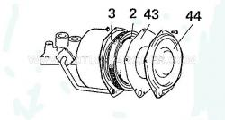 23. Refit the spring (3) and piston (2). Fit a new gasket (43) to cover the plate (44), place the plate on top of the piston, press down and secure with the nuts and bolts. Cover the open ports with tape, if the unit is not being used immediately.