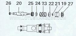 6. Compress spring (23) and remove the circlip (21) spring seats (22, 24). Remove the seals (25, 26) from the piston(20) and remove seal (27) from the plug (19).