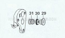 8. Lift off bush (29) take out the gland seal (30) and shake out the spacer (31).