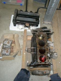 Lotus twin cam engine and Weber carburettors